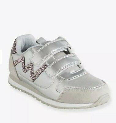 Vertbaudet Girls' Glittery Trainers with Touch 'n' Close Tabs - grey Eur33