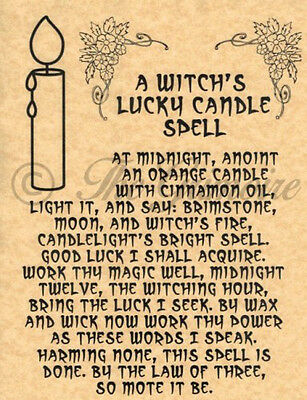 Witch's Lucky Candle Spell, Book of Shadows Spell Page, Wicca, Witchcraft, Pagan