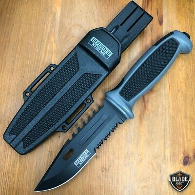 "9.25"" Tactical Survival HUNTING KNIFE Military Combat Camping Fixed Blade Grey"