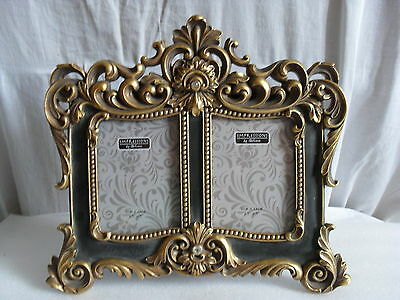 Baroque Antique Swirl Gold / Gilt With Crystals Twin  Photo Frame New And Boxed