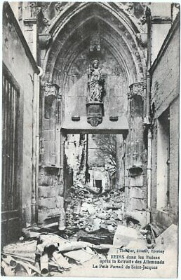 WW1, Saint-Jacques church, Reims. Mailed to Prof. Othon Guerlac of Cornell