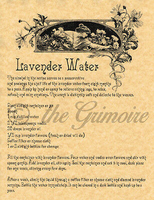 Lavender Water, Book of Shadows Spells Page, Wicca, Witchcraft, Pagan