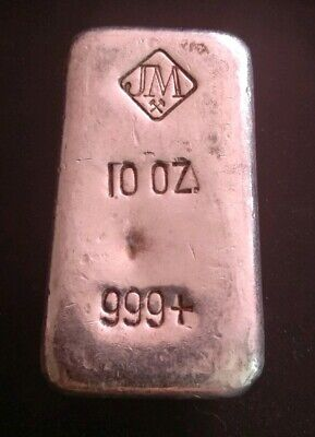 ➡ RARE 10oz 10 Oz Fine Silver 999 Johnson Matthey JM Canada JMC POURED Loaf Bar