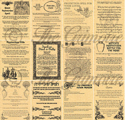 Protection Spells for Book of Shadows, Wicca, Witchcraft, Real Spell Pages