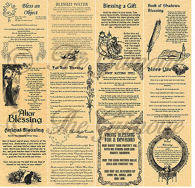 Blessing Spells, Book of Shadows Parchment Pages, Wicca, Witchcraft