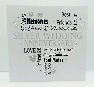 Handmade Silver Anniversary card for parents Texted in German or English. Personalized Congratulation card with pearls Friends Couple
