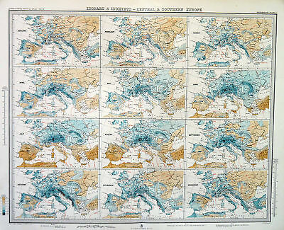 Map of Europe Central & Southern Isobars & Isohyets Large 1899 Original Antique