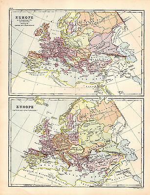 Map of Europe 9th and 10th Century Large 1880 Original Antique