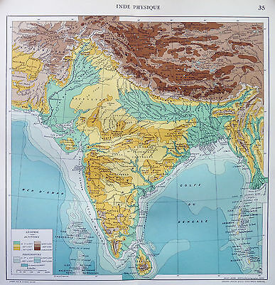 Map of India Physical French Large 1925 Original Antique