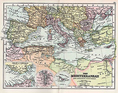 Map Of The Mediterranean and adjacent countries  Antique Original Printed 1880s