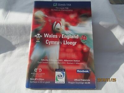 Wales v England. Rugby Union. February 2001. Programme + Event Tickets