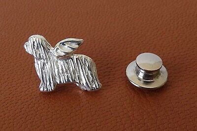 Small Sterling Silver Small Bearded Collie Angel Lapel Pin