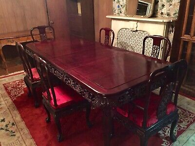 Beautiful Chinese Rosewood Dining Table With 6 Chairs - Near mint - Pickup In NJ