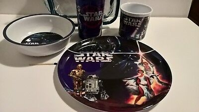 1997 Star Wars picnic lunch melamine table set in bag with plate cup mug bowl