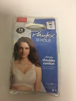 35a8d7533 PLAYTEX 18 HOUR Ultimate Shoulder Comfort Wirefree Bra -White- 48C ...