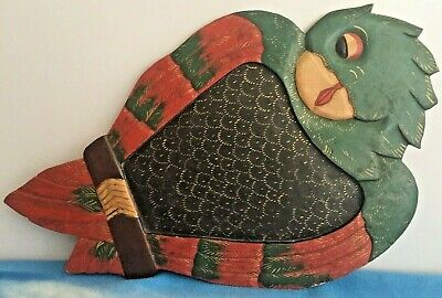 Vintage Wooden Parrot Bird Serving Tray Home Painted Dinner Wall Art Functional