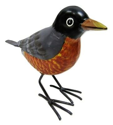 Small Rustic Spring Robin Red Breast Metal Tin Song Bird Figure