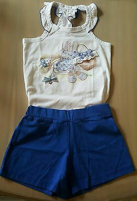 Lovely girls spanish blue white summer vest and short set by mayoral 7years.