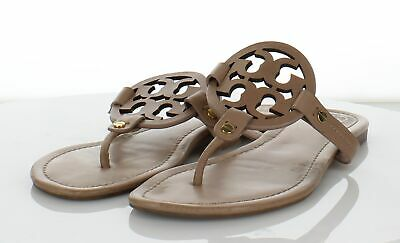 23d04a289f08 TORY BURCH MILLER 2 Nude  Beige Textured Leather Logo Sandals SZ 9 M ...