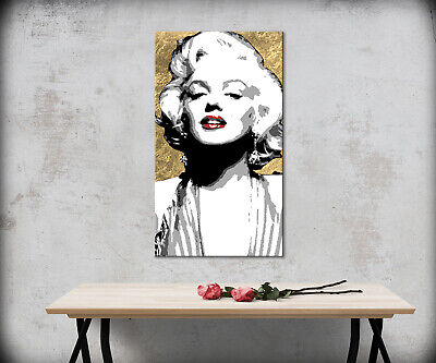 Quadro Dipinto Su Tela Oro Quadri Per Salone Camera Da Letto Marilyn Pop Art