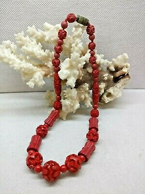 Old Chinese / Tibetan Red Carved Necklace