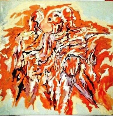 LISTED AMERICAN JEAN MARGOLIN Sd ORIGINAL OIL POWERFUL ABSTRACT FIGURES LARGE!