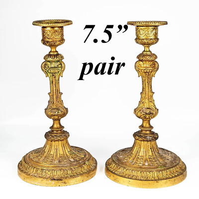 """Antique 19th Century French Candlestick Pair, Dore Finish, Bobeche, Set, 7.5"""""""