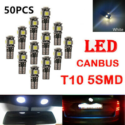50x T10 5050 5SMD Car CANBUS LED Bulbs Error Free Wedge Side Dome Lights W5W 194