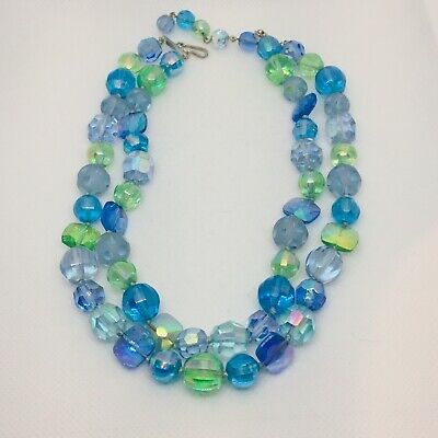 Double Strand Aurora Borealis Glass Bead Choker Blue Green Lilac Faceted Round