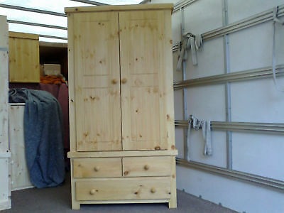 Antique Waxed Pine Shaker Double Wardrobe 2+1 Drawers Solid Pine No Flat Packs