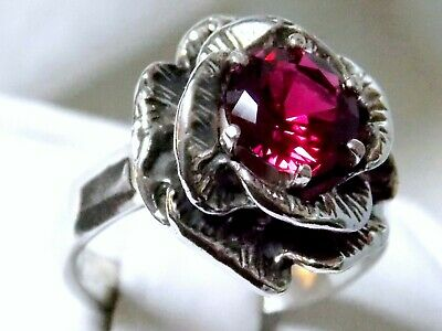 Red Ruby Antique 925 Sterling Silver Flower Ring Size 9.5 Usa Made
