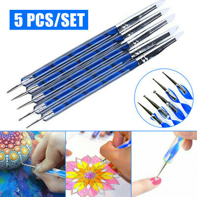 5Pcs Clay Sculpting Wax Carving Pottery Tool Shapers Polymer Painting Stencils