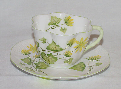 "PERFECT Fine Bone China SHELLEY ""Celendine"" Scalloped Cup & Saucer!"