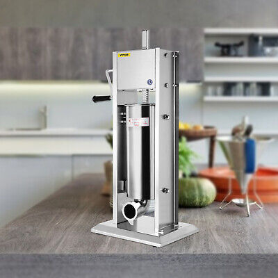 7L Sausage Filler Stuffer Maker With 5 Tubes 304 Manual Operate Meat Machine
