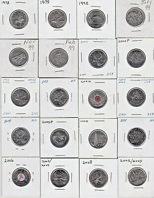 ( 27 ) Different Canadian 25c Coins - 1973 - 2017 - in 2x2 holders,some colored