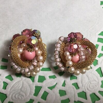 Vintage Pair Of Stunning Pink Beaded Clip On Earrings W/pearls & Gold Mesh