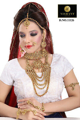 Jewelry & Watches 100% Quality Red Lct Gold Rhinestone 8pcs Bridal Necklace Set Party Padmavat Reception Dance
