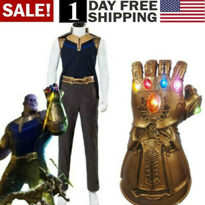US! Avengers 4 Endgame Thanos Costume Adult Full Suit+ Thanos Infinity LED Glove