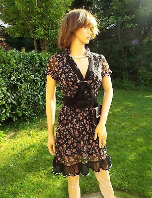New pink roses black chiffon lace mini dress & vintage bag Party Cocktail  8 10