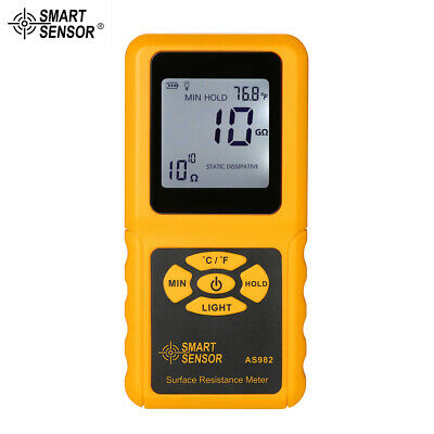 SMART SENSOR Handheld LCD Surface Resistance Meter Tester with Temperature R2E4