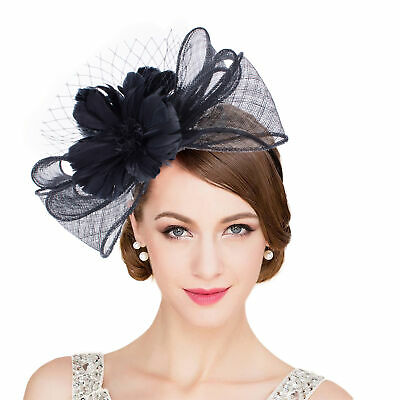 Womens Black Sinamay Floral Feather Fascinator Kentucky Derby Hat Headband T346