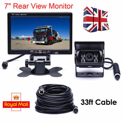 "12V/24V Car Reversing Camera + 7"" LCD Monitor Truck Bus Van Rear View Kit + 10M"