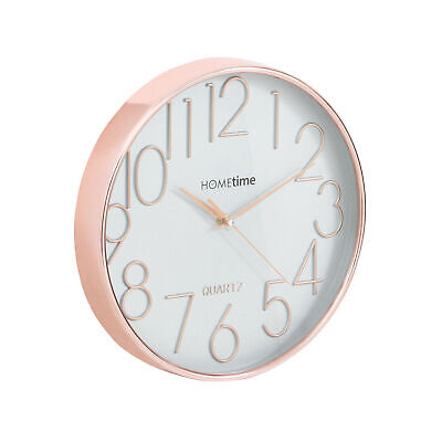 Hometime 30Cm Rose Gold Finish Wall Clock Carbon Grey Dial Plastic Deep Dish