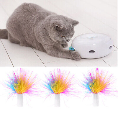3 PCs Pet Automatic Cat Interactive Toys Replace Feather Electronic Rotating Toy