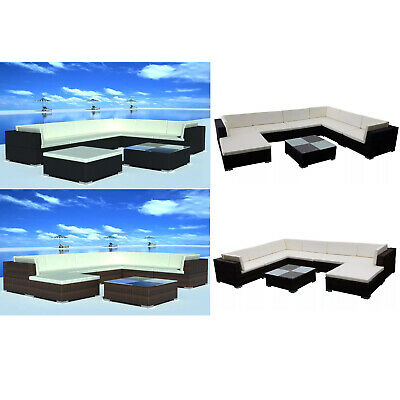 24 Pieces Outdoor Lounge Set Poly Rattan Coffee Table for Garden Patio Furniture