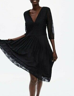 6b54a921 Zara Woman New 2019 Black Pleated Dress With Contrast Lace Trims Ref:  8741/031