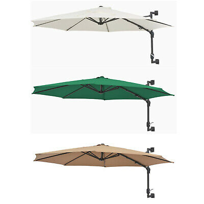 Wall-Mounted Parasol Garden Umbrella with Metal Pole 300 cm Crank Mechanism UK