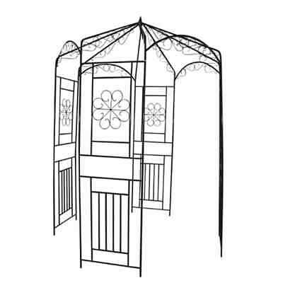 Garden Arch 250 cm Black Wrought Iron for Roses and Climbers Pavilion Design New