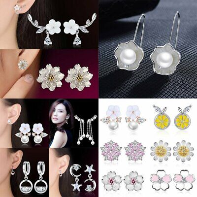 Fashion 925 Silver Crystal Ear Stud Flower Pearl Moon Earrings Women Jewelry NEW
