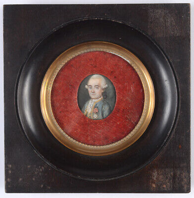"""""""French Royal officer with Order of St. Louis"""", miniature, 1780/90"""